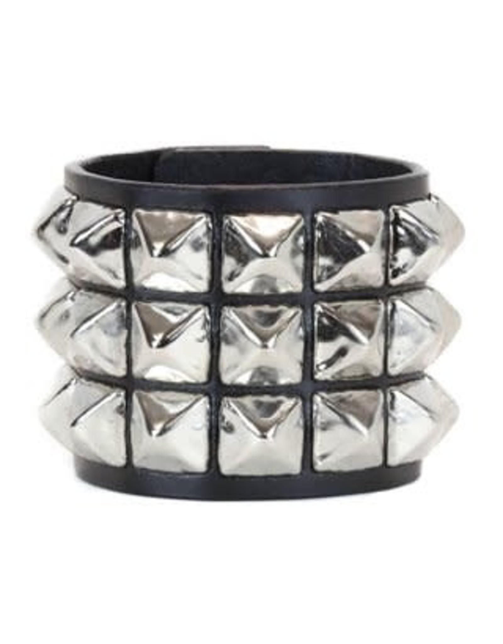 FUNKPLUS - Bracelet 3 Rows Big Silver Studs