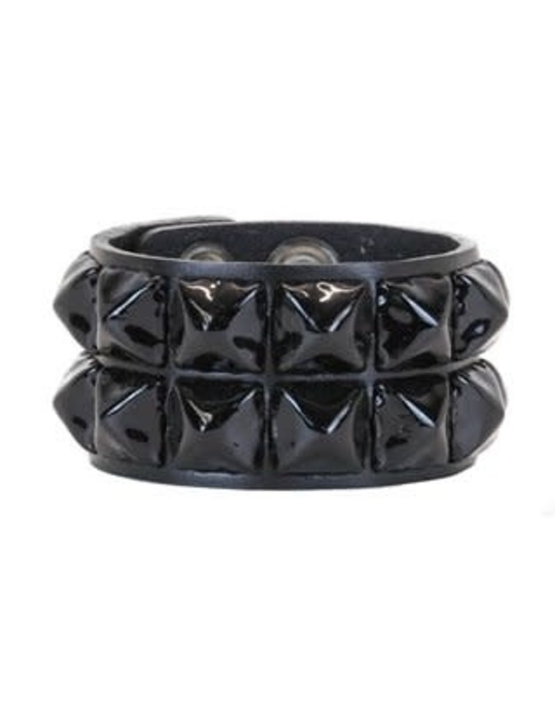 FUNKPLUS - Bracelet 2 Rows Big Black Studs