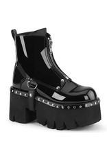 "DEMONIA ASHES-100 3 1/2"" Chunky Heel Platform Black Patent Vegan Leather Boot,Silver Stud Embellishments + D-Rings Harness Strap D39PB"