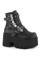 "DEMONIA ASHES-55 3 1/2"" Chunky Heel Platform Black Vegan Leather Boot + 3 Studded Bat Buckle Straps D40VBB"
