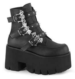"DEMONIA ASHES-55 3 1/2"" Chunky Heel Platform Black Vegan Leather Boot + 3 Studded Bat Buckle Straps D40VBB"