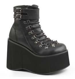 "DEMONIA KERA-21 4 1/2"" P/F Faux Black Vegan Leather Lace-Up Boot w/ Adjustable Ankle Cuff, Side Zip D42VB"
