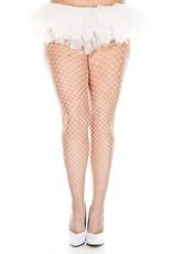 MUSIC LEGS - White Plus Size Mini Diamond Net Spandex Pantyhose