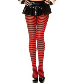 MUSIC LEGS - Black/Red Plus Size Striped Tights