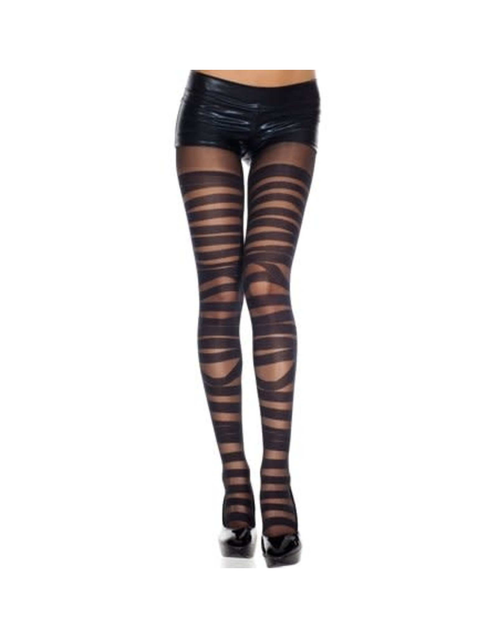 MUSIC LEGS - Spandex Sheer Opaque Bandage Design Pantyhose
