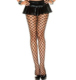 MUSIC LEGS - Double Strands Diamond Net Spandex Pantyhose