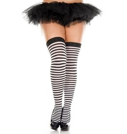 MUSIC LEGS - Plus Size Black/White Striped Thigh Hi