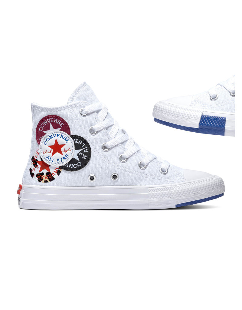 CHUCK TAYLOR ALL STAR  HI WHITE/RUSH BLUE/ROSE MAROON CALOW-366989C