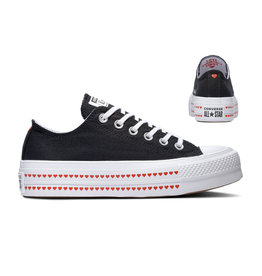CONVERSE CHUCK TAYLOR ALL STAR  LIFT OX BLACK/UNIVERSITY RED/WHITE C14PEB-567158C