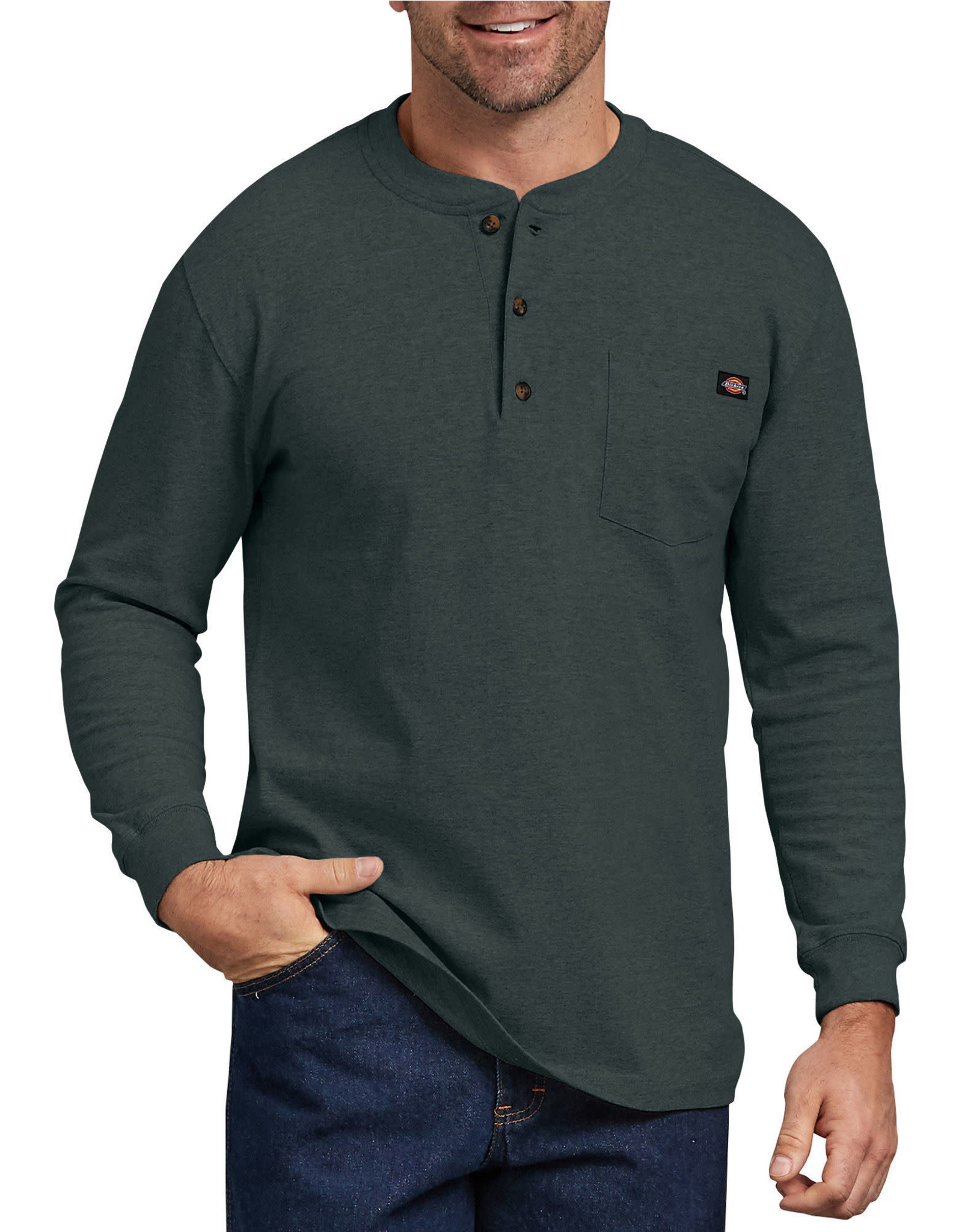 DICKIES Long Sleeve Heavyweight Henley Shirt WL451