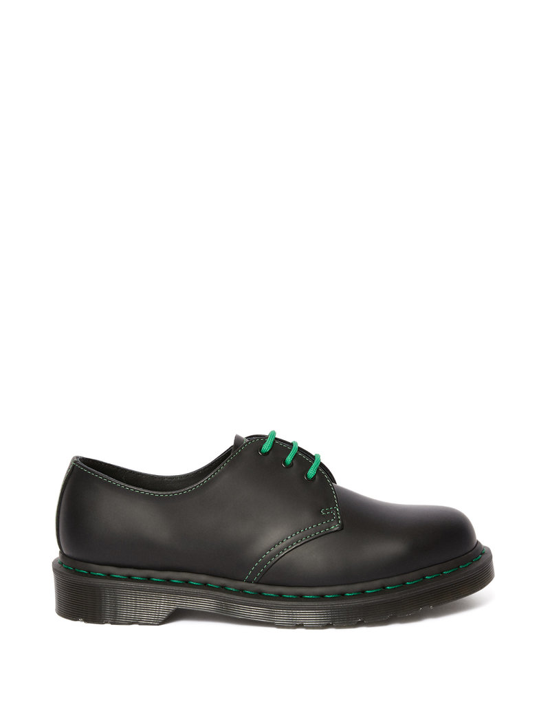 DR. MARTENS 1461 GREEN STITCH BLACK SMOOTH 301BGS-R25824001