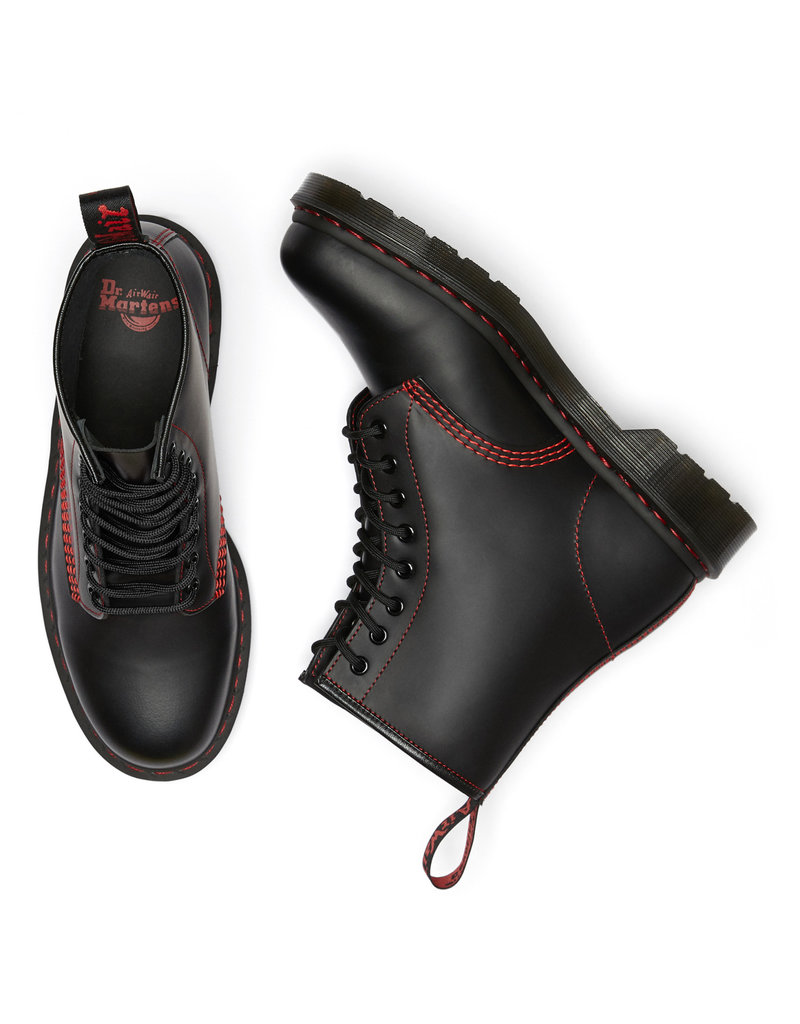DR. MARTENS 1460 RED STITCH BLACK SMOOTH 815BRS-R25828001