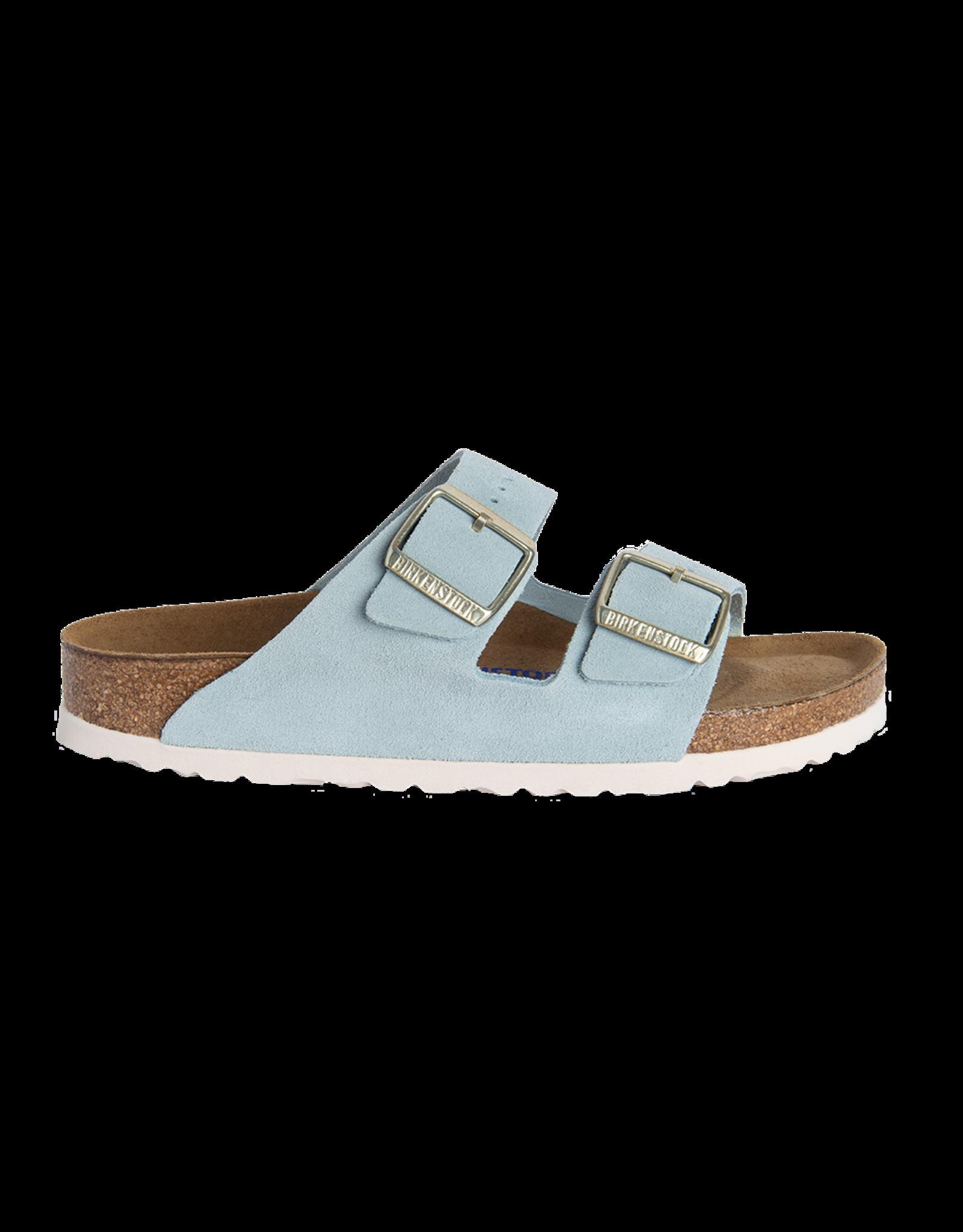 birkenstock arizona soft footbed light blue suede