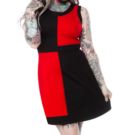 SOURPUSS - Mini Mod Red/Black Dress