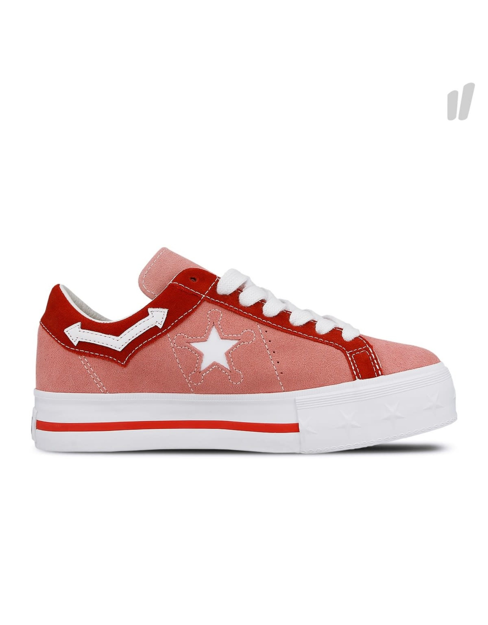 CONVERSE ONE STAR PLATFORM OX SUÈDE PINK ICING/TOMATO C987PI-563730C