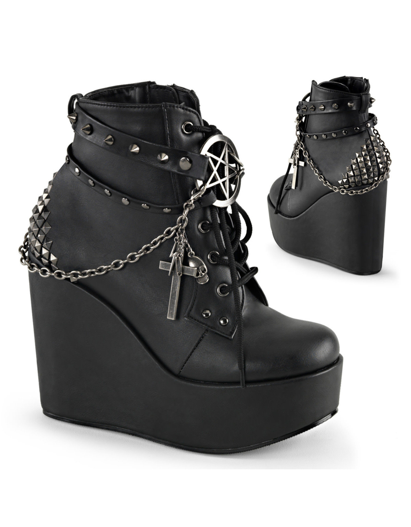 "DEMONIA POISON-101 5"" Wedge PF Boot w/Straps, Studs, Assorted Charms & Chain D37VBC"