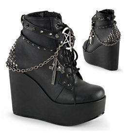"""DEMONIA POISON-101 5"""" Wedge PF Boot w/Straps, Studs, Assorted Charms & Chain D37VBC"""