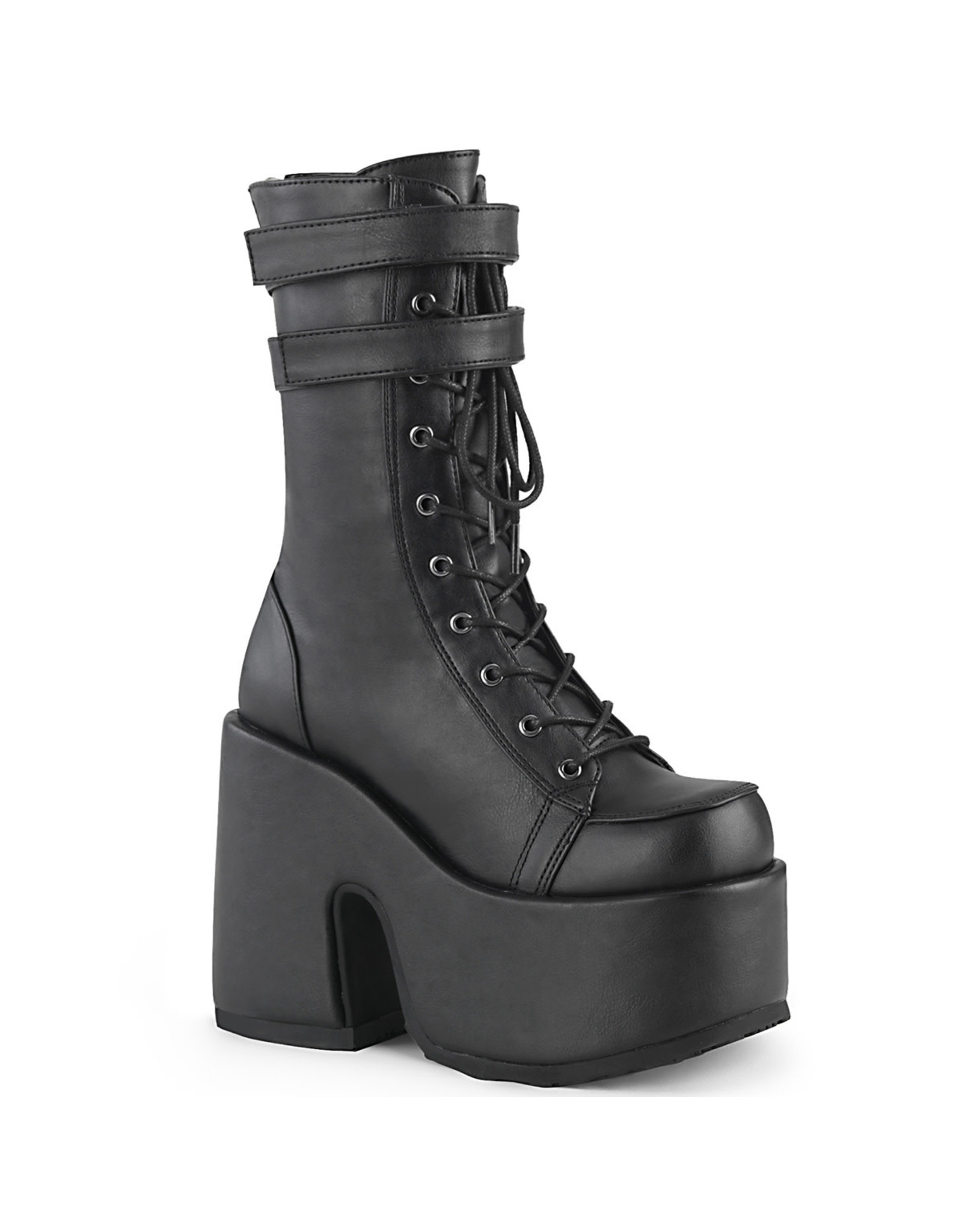 "DEMONIA CAMEL-250 5"" Chunky Heel, 3"" P/F Black Vegan Leather Lace-Up Mid-CalfBoot, Back Zip D47VB"