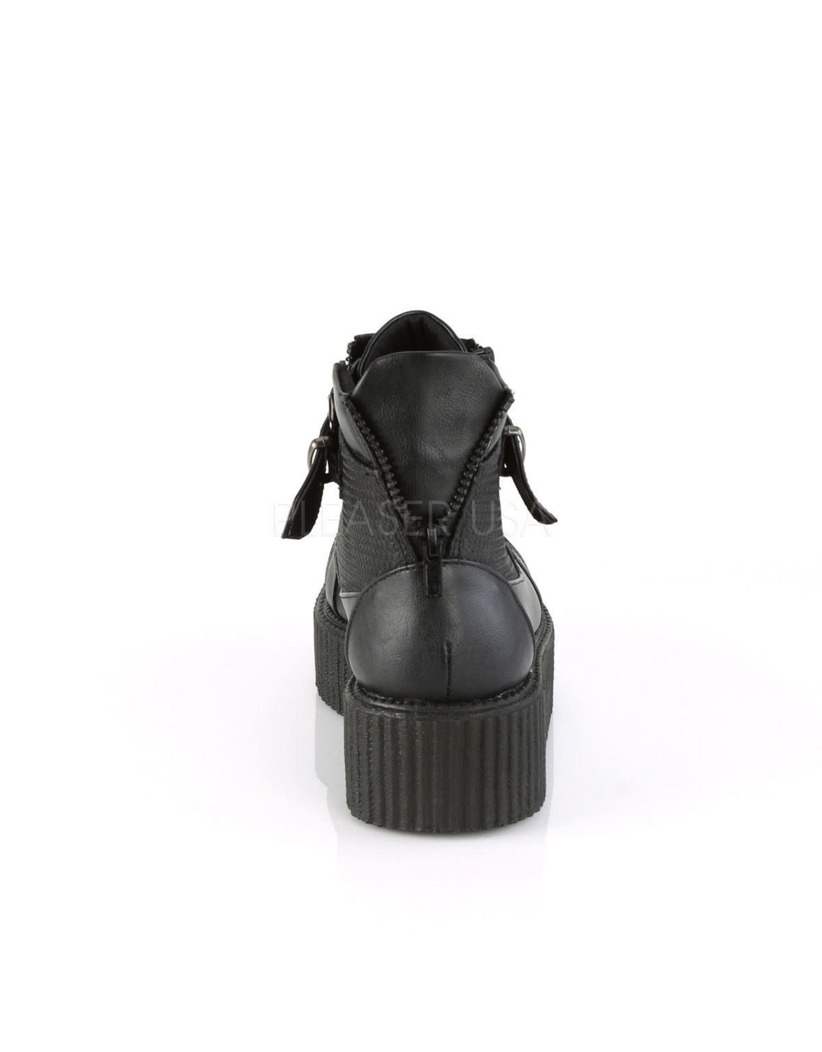"""DEMONIA V-CREEPER-566 2"""" PF Oxford Creeper Bootie, Inner & Outer Side Zip-D16VBS"""