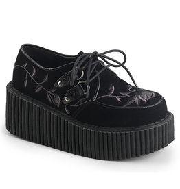 """DEMONIA CREEPER-219 3"""" Platform Lace Up Creeper Embroidery Flower D9BF"""