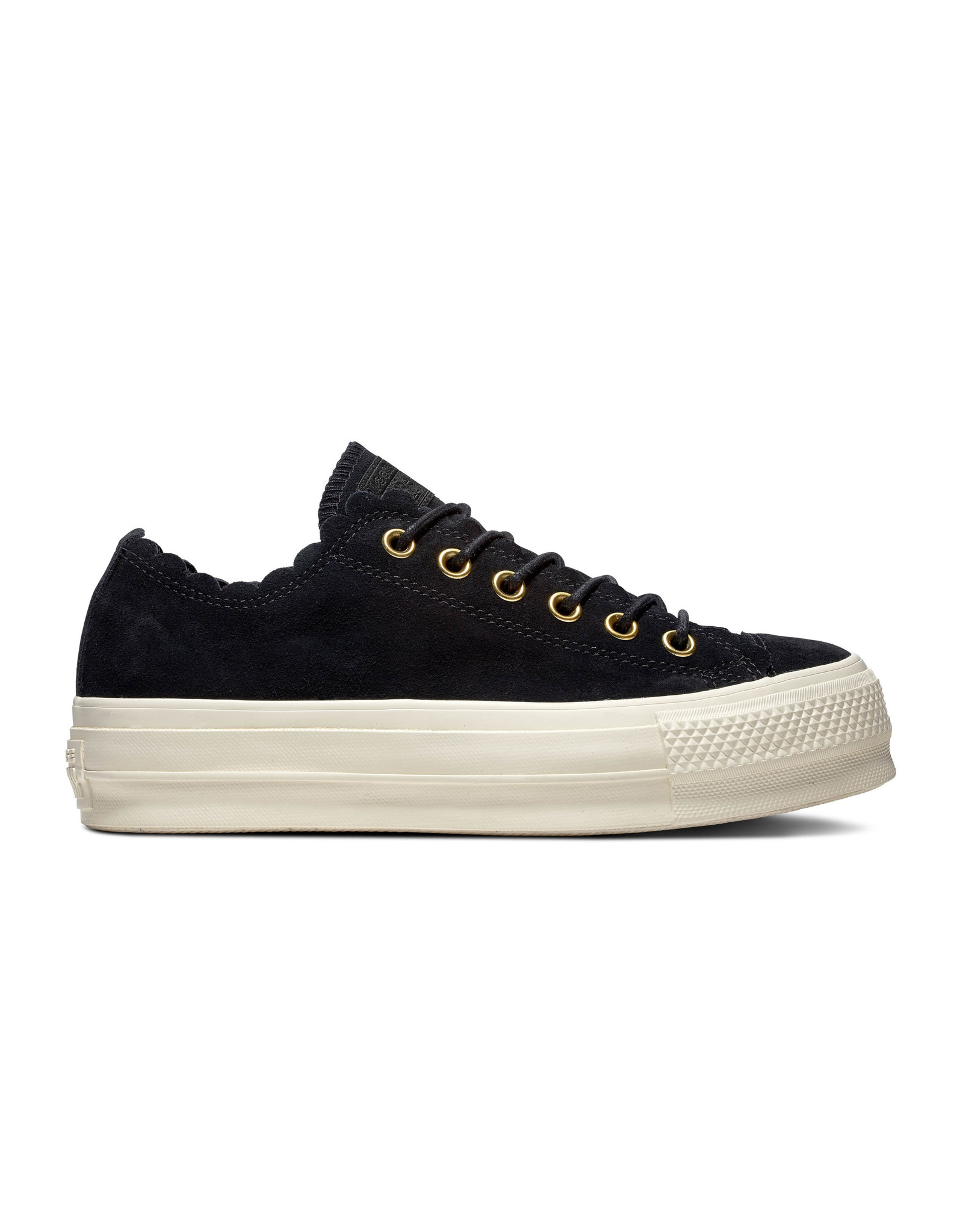 CONVERSE CHUCK TAYLOR ALL STAR LIFT OX CUIR BLACK/GOLD/EGRET C13LBE-563499C