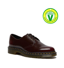 DR. MARTENS WOMEN'S VEGAN 1461 CHERRY RED CAMBRIDGE BRUSH 301VECA-R14046601