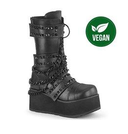 "DEMONIA TRASHVILLE-138 3 1/4"" Platform Black Vegan Pyramid Studded Strap Boot W/ Cascading Chain, Back Metal Zip Closure D61VB"