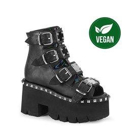 "DEMONIA ASHES-70 3 1/2"" Chunky Heel 2 1/4"" Cut Out Metal Studded Black Vegan Platform Sandal, Back Metal Zip Closure D62BVH"
