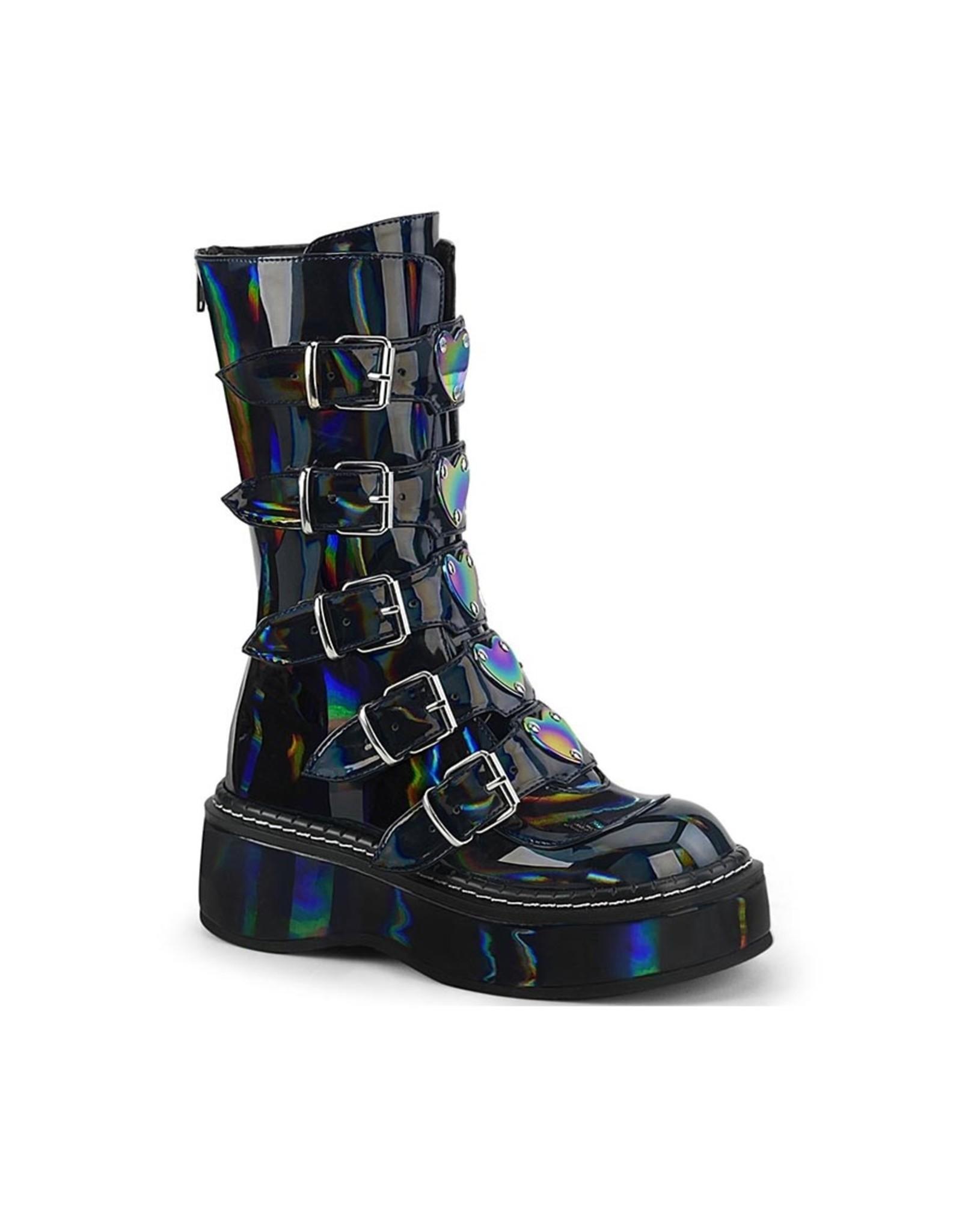 "DEMONIA EMILY-330 2"" Platform Black Hologram Calf High w/ 5 Buckle Straps,Back Metal Zip D46BHG"
