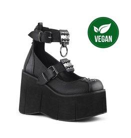 "DEMONIA KERA-12 4 1/2"" Platform Black Vegan Maryjane Buckle Straps w/ Studded Metal Plates & O-Ring D63VB"