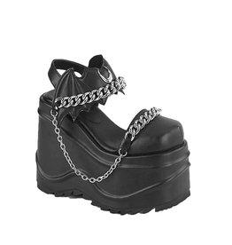 "DEMONIA WAVE-20 6"" Wedge Platform CloseToe Sandal Bat Shaped Hook & Loop Ankle Strap + Moon & Chain D60VB"