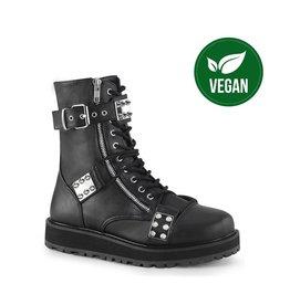 "DEMONIA VALOR-280 1 1/2"" Platform Vegan Black Leather Lace-Up Ankle Boot,Outside Zip D50VBS"