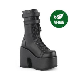 "DEMONIA CAMEL-250 5"" Chunky Heel, 3"" P/F Black Vegan Leather Lace-Up Mid-CalfBoot, Back Zip D47VB"