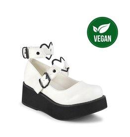 "DEMONIA SPRITE-02 2 1/4"" Platform White Vegan Mary Jane w/Heart O-Rings & Studs Detail-D11VWH"