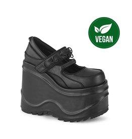 "DEMONIA WAVE-48 6"" Black Vegan Leather Wedge Mary-Jane D56VB"