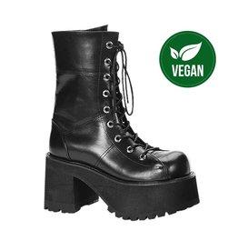 "DEMONIA RANGER-301 4"" Platform Goth Punk Gogo Calf Boot, Full Inner Size Zipper D52VB"