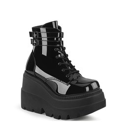 "DEMONIA SHAKER-52 4 1/2"" Wedge PF Black Patent Ankle Boot, Side Zip D38PB"