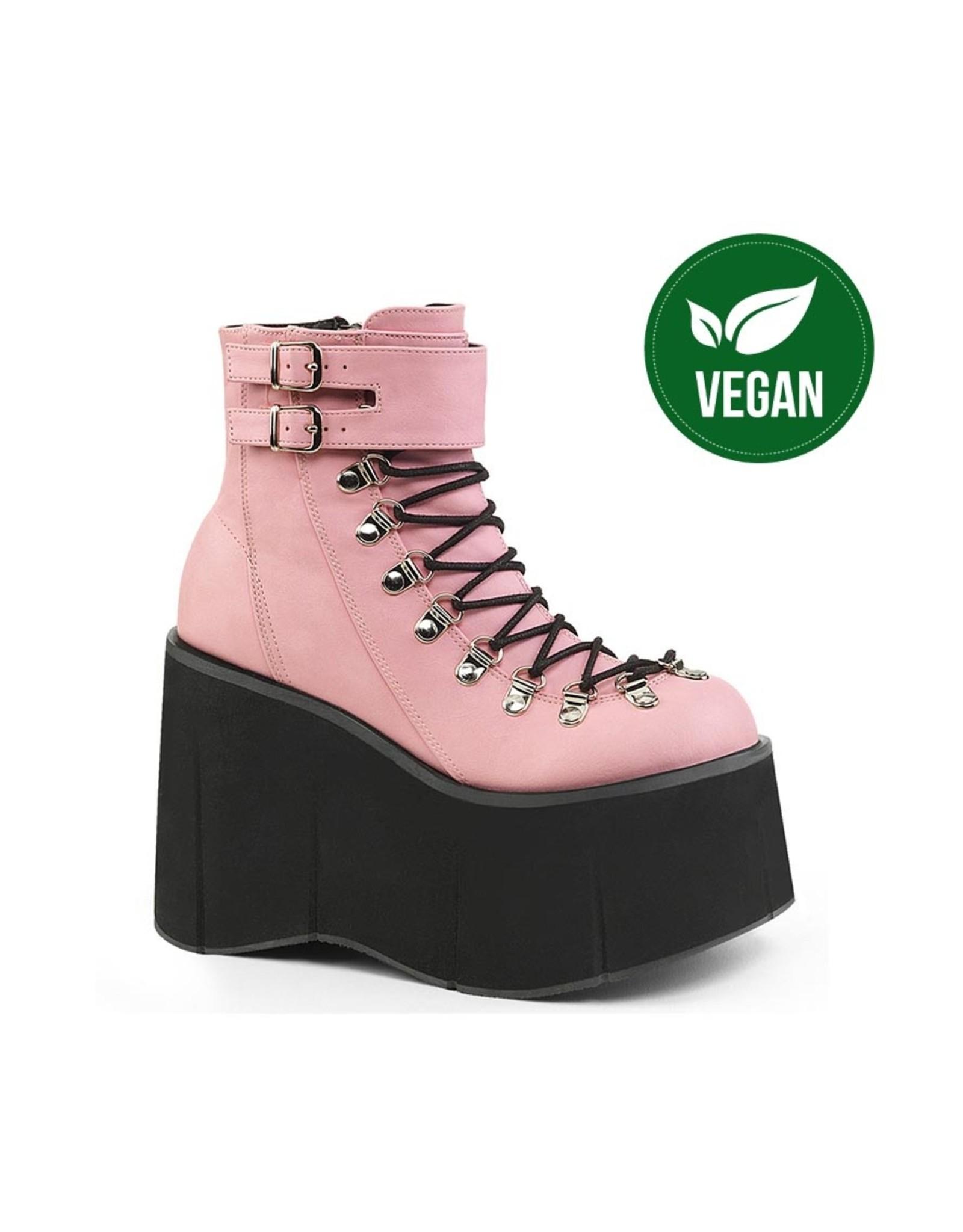 DEMONIA KERA-21 4 1/2 Pink Vegan Leather Ankle Boot, Side Zip D42VP