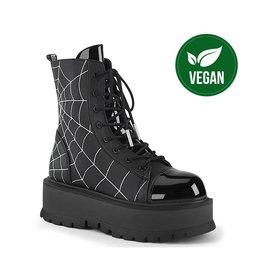 "DEMONIA SLACKER-88 2"" PF Lace-Up Ankle Boot Black Vegan Leather Patent, Side Zip D45VPS"