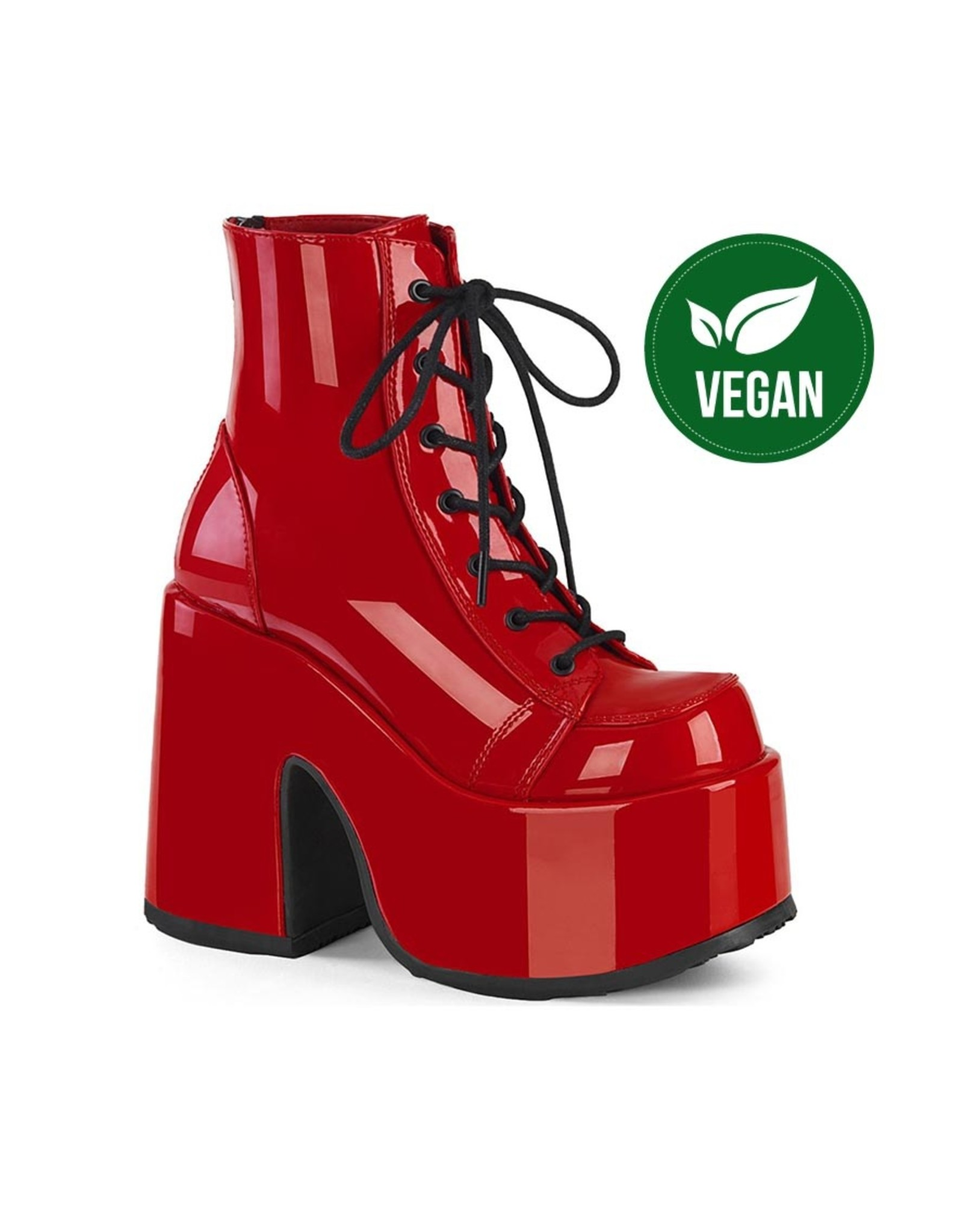 """DEMONIA CAMEL-203 5"""" Chunky Heel, 3"""" P/F  Red Patent Lace-Up AnkleBoot, Metal Back Zip D23PR"""
