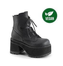 "DEMONIA RANGER-102 3 3/4"" Heel, 2 1/4"" P/F Black Vegan Leather Lace-Up Front Ankle Boot, Side Zip D43VB"