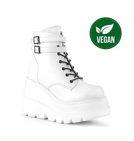 """DEMONIA SHAKER-52 4 1/2"""" Wedge Platform White Vegan Leather Boot w/ Double Buckled Ankle Straps, Inside Zip Closure D38VW"""