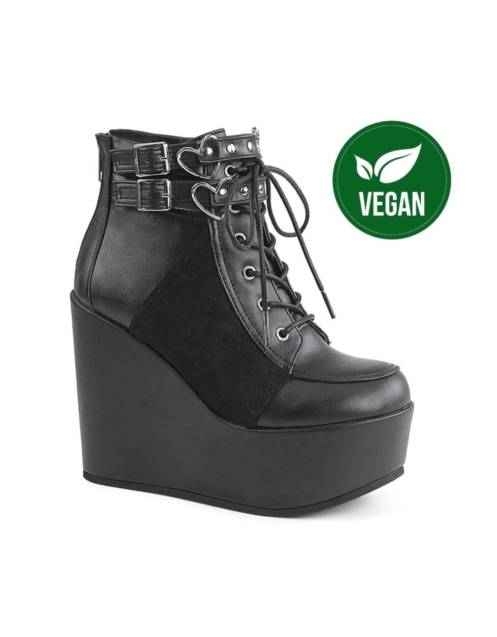 "DEMONIA POISON-105 5"" Wedge Platform Black Vegan Leather-Velvet Boot w/ Double Buckled Ankle Straps, Heart Embroidered Panel + Heart Ring Details, Back Metal Zipper D41VBV"