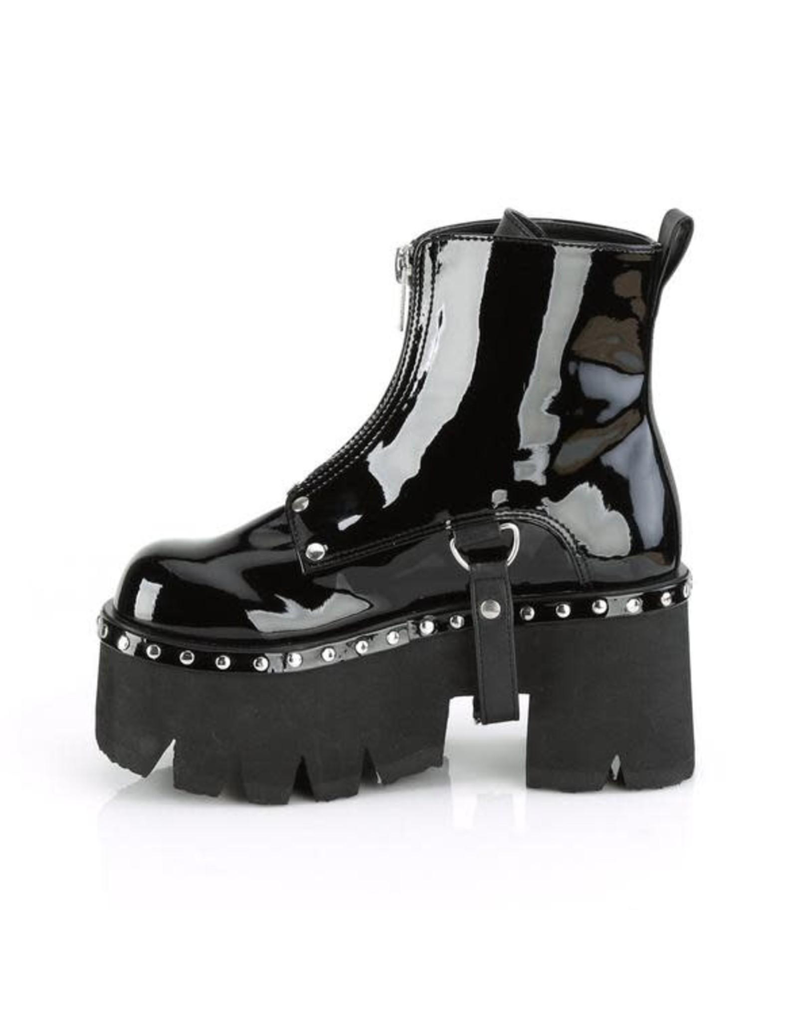 "DEMONIA ASHES-100 3 1/2"" Chunky Heel Platform Black Patent Vegan Leather Boot,Silver Stud Embellishments + D-Rings Harness Strap D39PB"