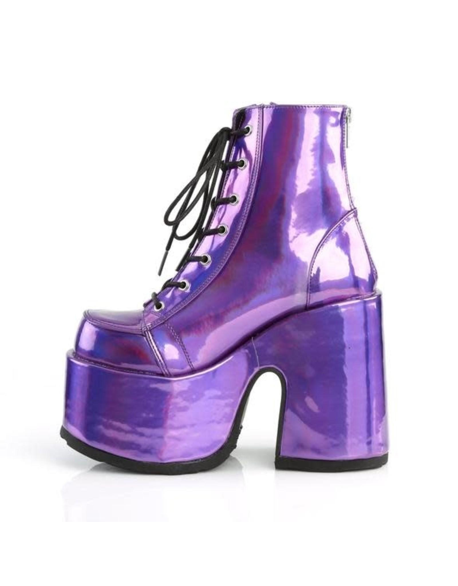 "DEMONIA CAMEL-203 5"" Chunky Heel, 3"" Platform Vegan Purple Hologram Lace-Up Ankle Boot, Back Zip Closure D23VPH"