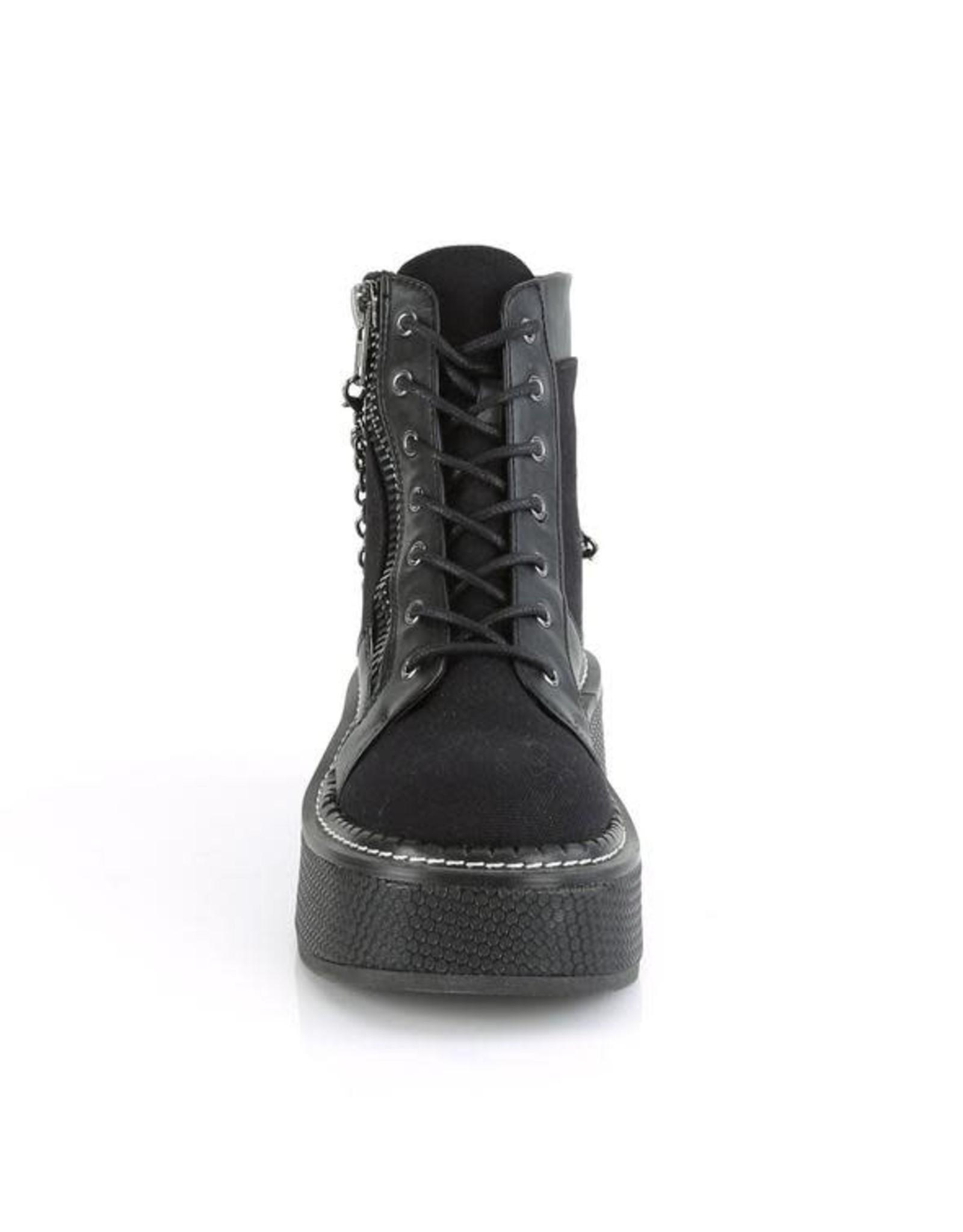 """DEMONIA EMILY-114 2"""" Platform Vegan Black Canvas Lace-Up Bootie, Outer Metal Zipper D49VBC"""