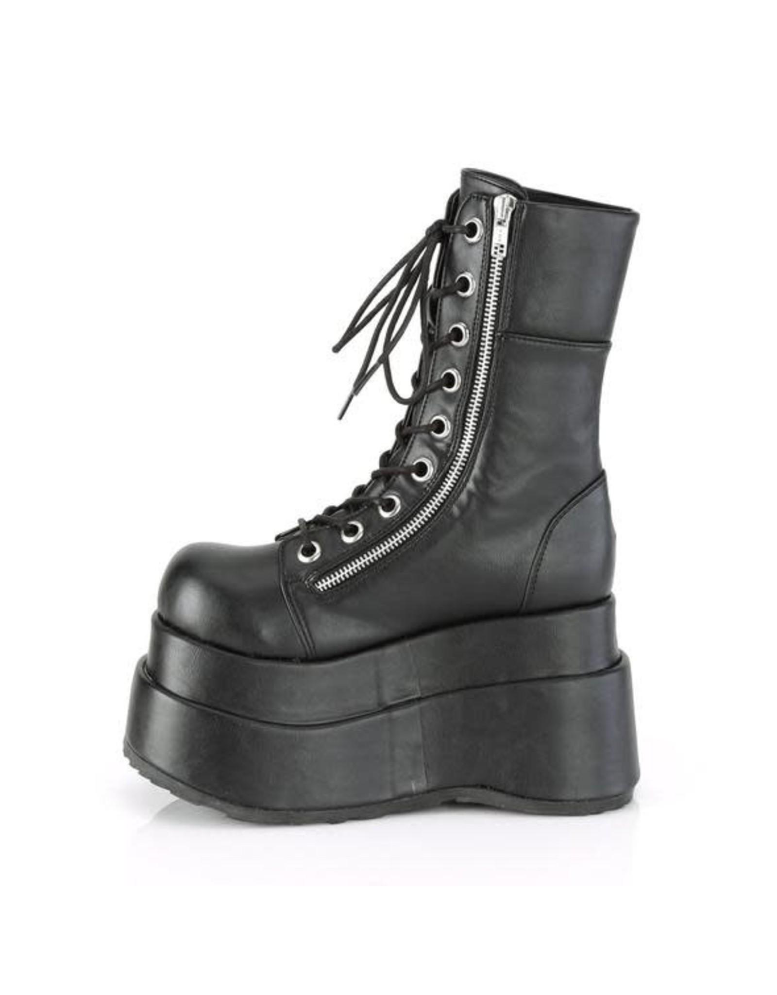 "DEMONIA BEAR-265 4 1/2"" Black Vegan Leather Tiered Platform Lace-UP Inner & Outer D58VB"