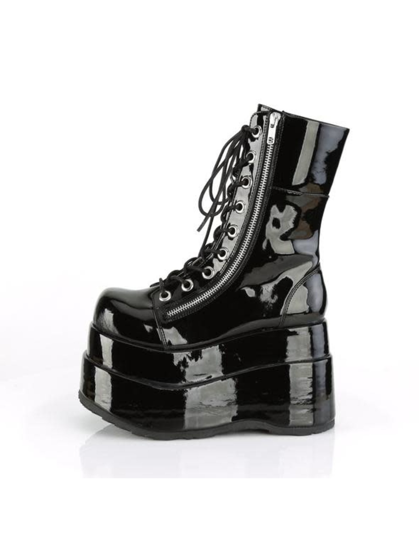 """DEMONIA BEAR-265 4 1/2"""" Black Patent Tiered Platform Lace-UP Inner & Outer D58BP"""