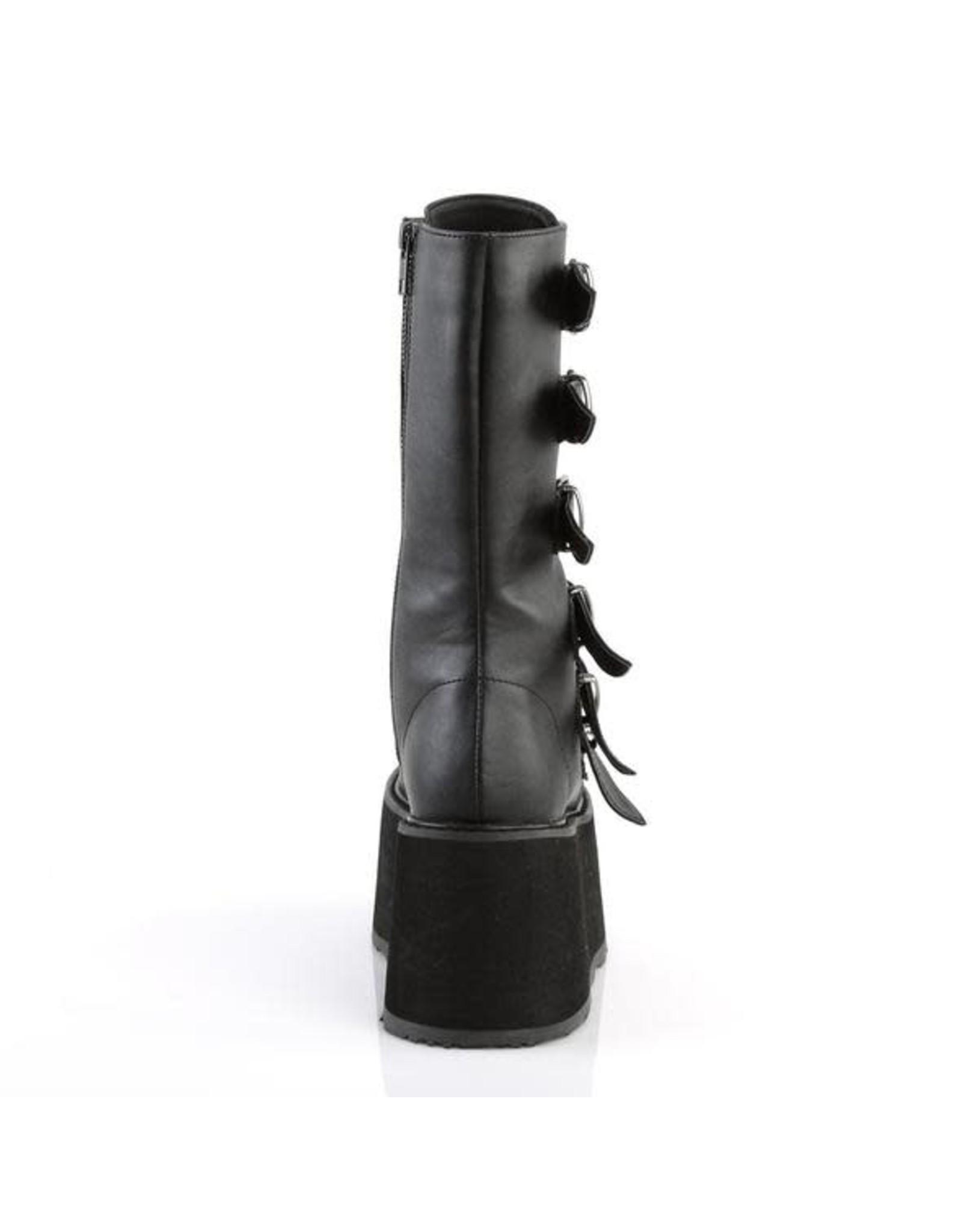 "DEMONIA DAMNED-225 3 1/2"" Platform Black Vegan Leather Boot, 6 Cone-Studded Buckle Straps, Inside Metal Zip Closure D24VB"