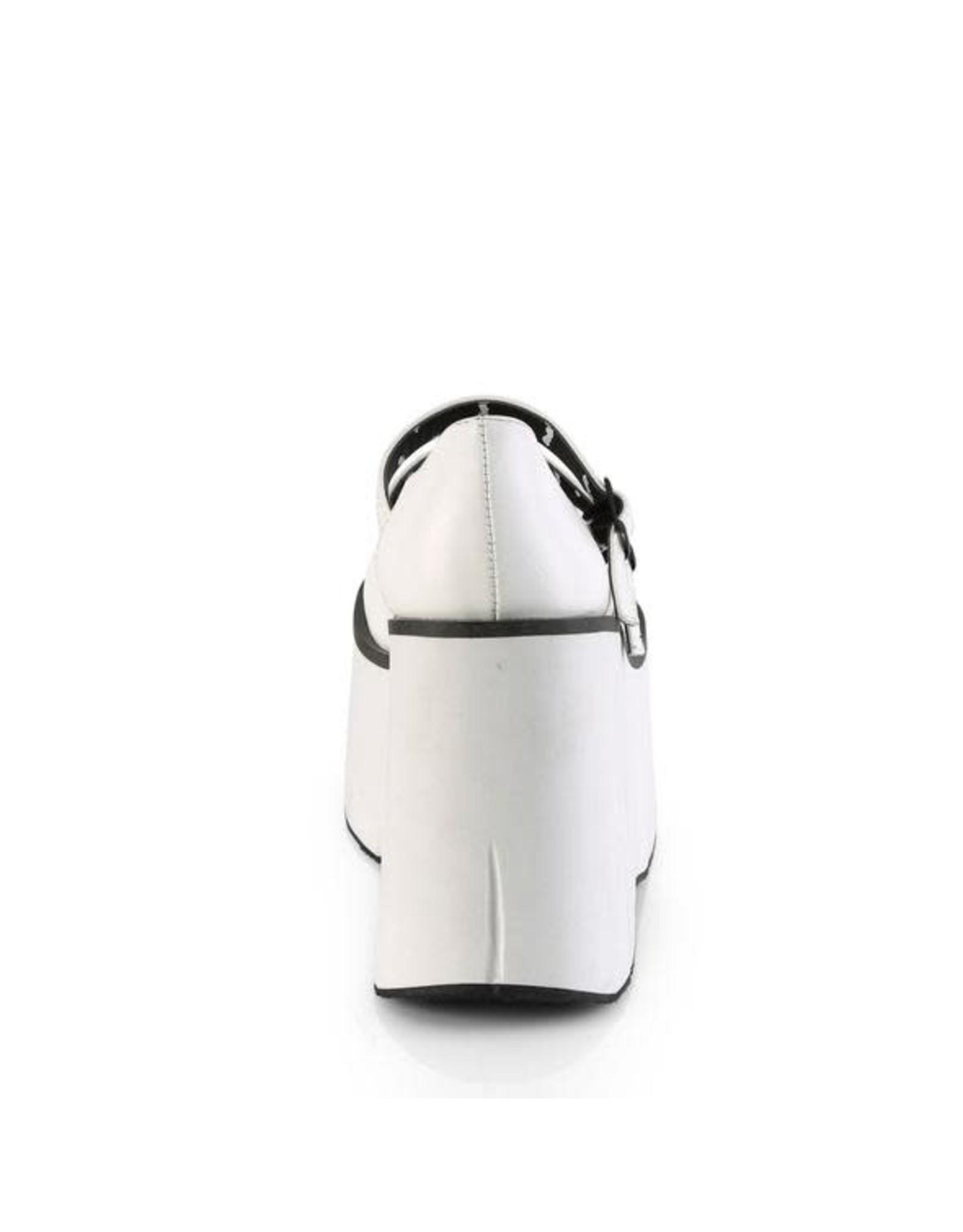 DEMONIA KERA-08 4 1/2 PF Mary-Jane Vegan White Leather Double Strap D55VW